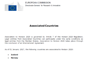Link to List of Horizon 2020 Associated Countries